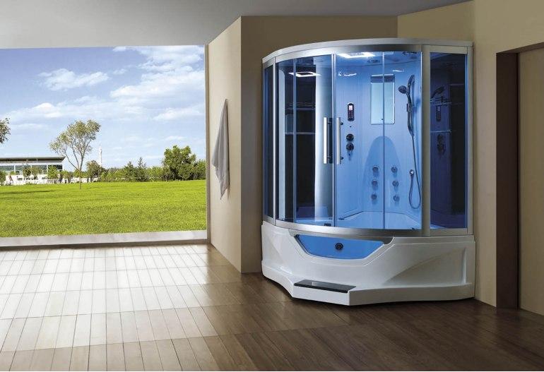 Cabine de douche hydromassante avec hammam et baignoire AT-012B
