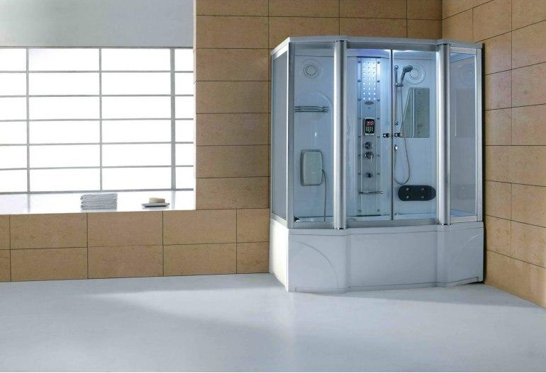 Cabine de douche hydromassante avec hammam et baignoire AT-016
