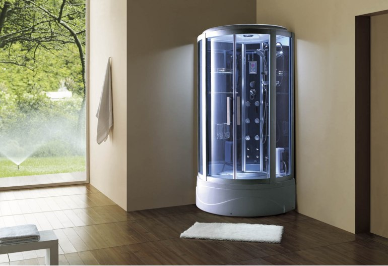 Cabine de douche hydromassante avec hammam et baignoire AT-003