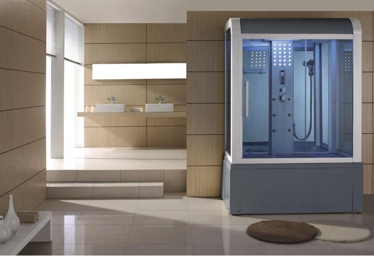Cabine de douche hydromassante avec hammam et baignoire AT-009
