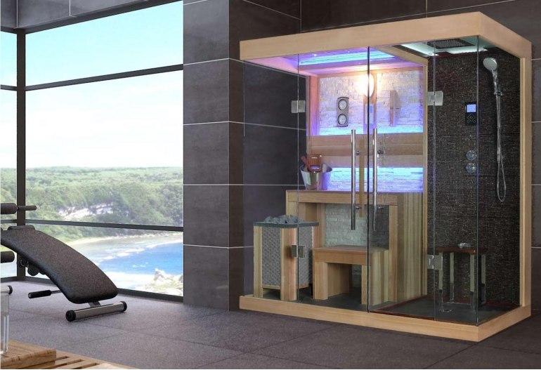 Sauna sec et hammam avec douche AT-001A